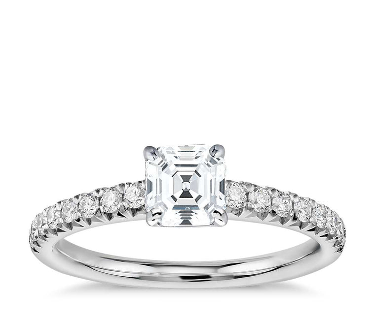 Engagement Ring - Pave Asscher Cut