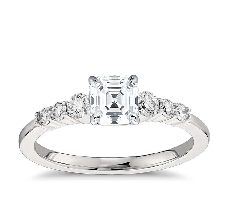 Engagement Ring - Side Stone Asscher Cut