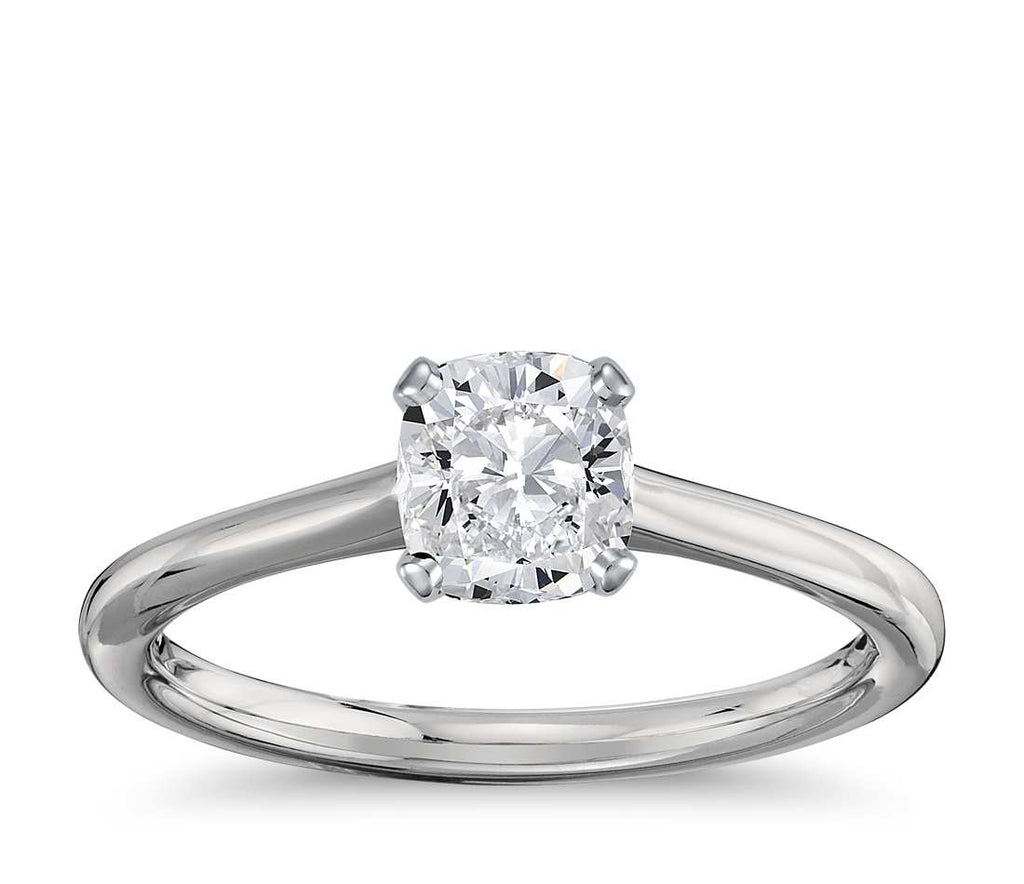 Engagement Ring - Thin Four-Prong Princess