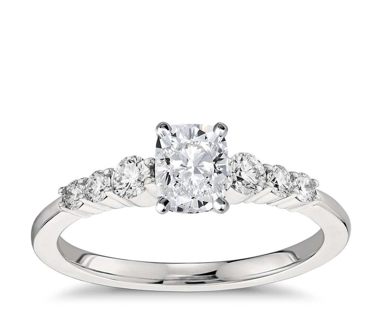 Engagement Ring - Side Stone Cushion Cut