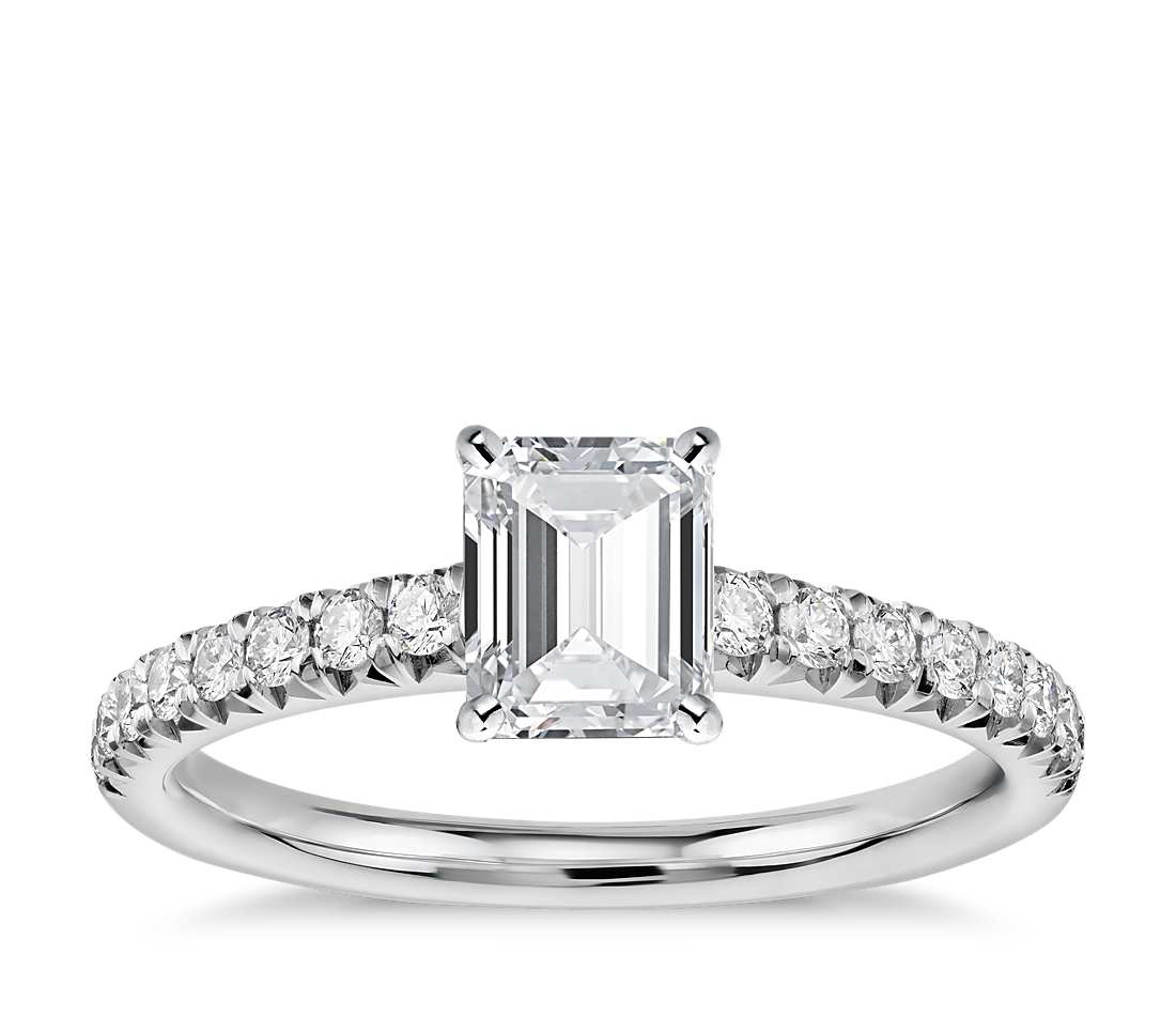 Engagement Ring - Pave Emerald Cut