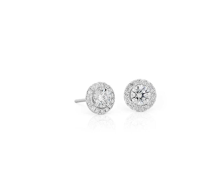 Diamond Stud Earrings - Halo (1ct tw)
