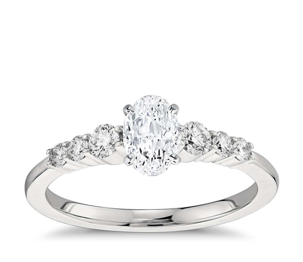 Engagement Ring - Side Stone Oval Cut