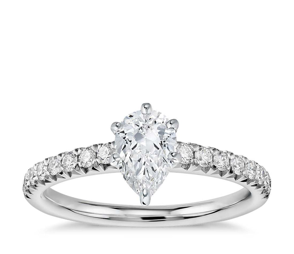 Engagement Ring - Pave Pear Cut