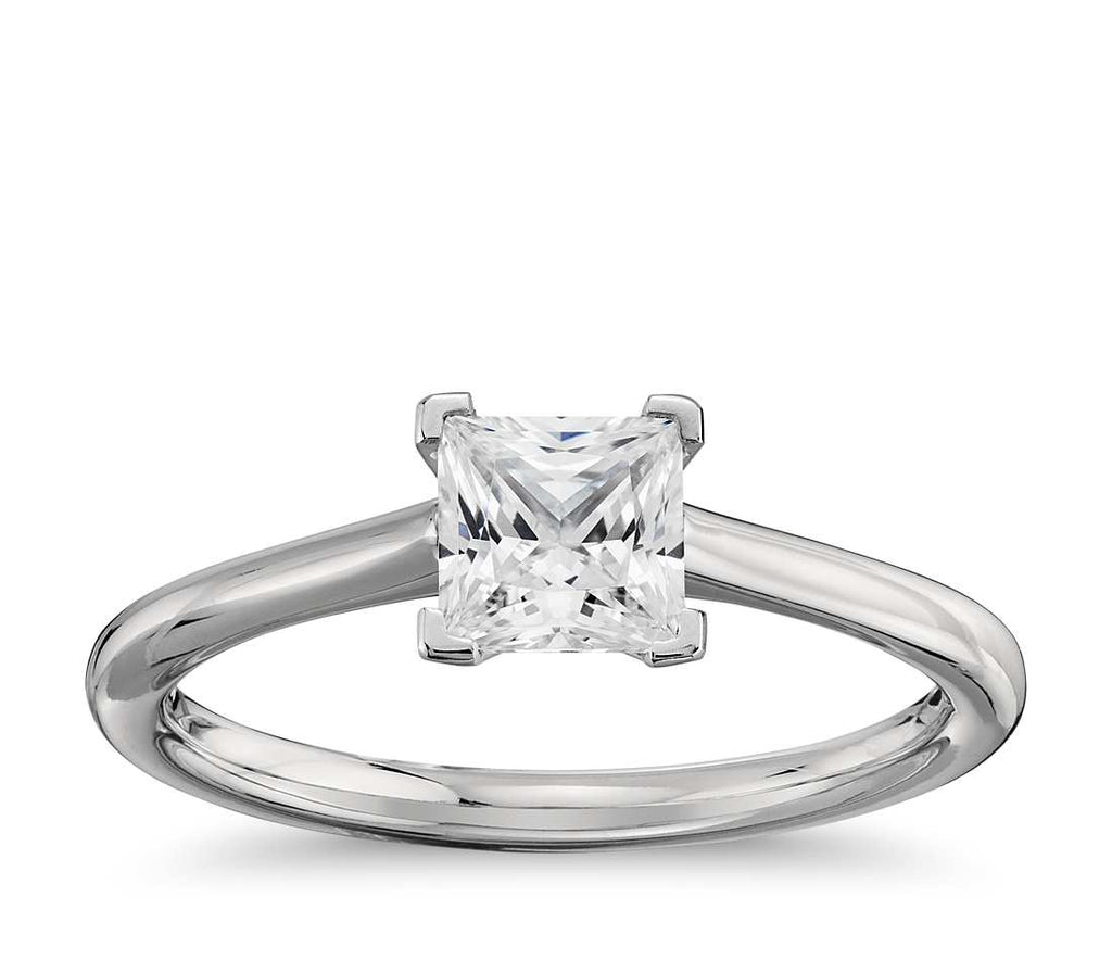 Engagement Ring - Thin Four-Prong Cushion