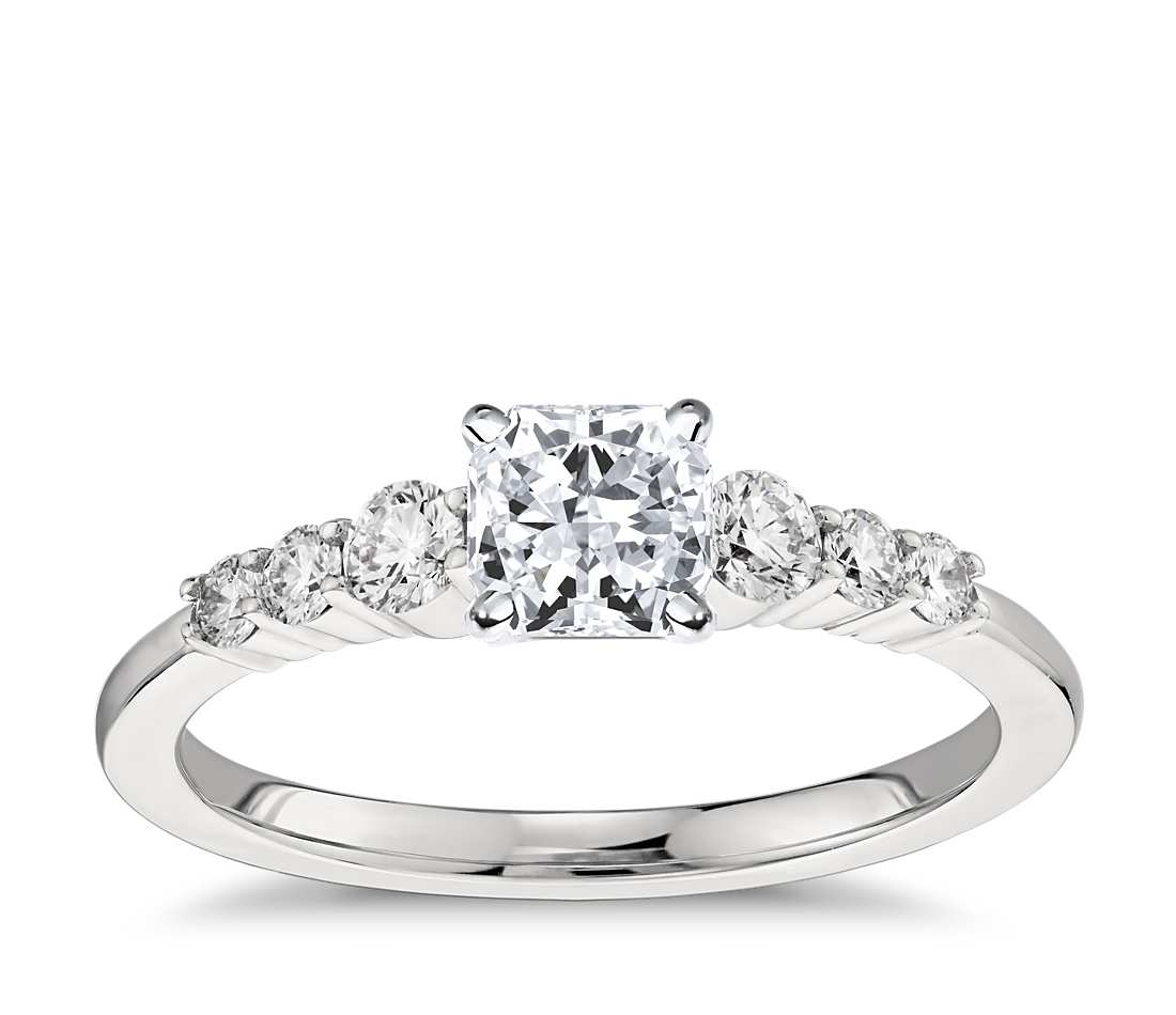 Engagement Ring - Side Stone Radiant Cut