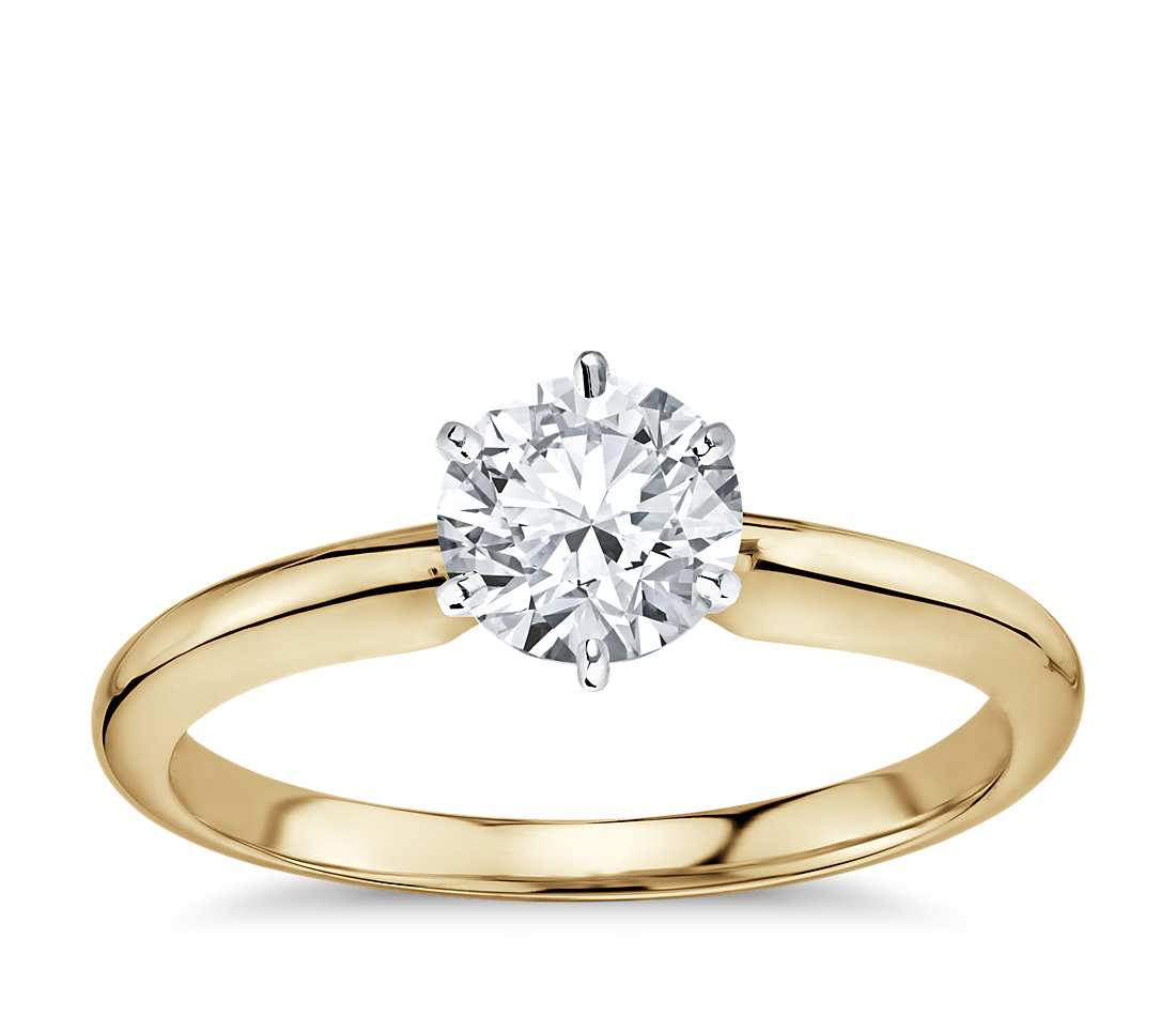 Solitaire Engagement Ring - Classic Six- Prong Round (18k Yellow Gold)