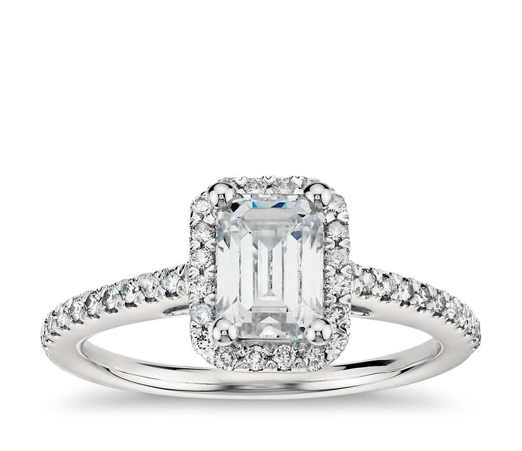 Engagement Ring - Halo Emerald Cut
