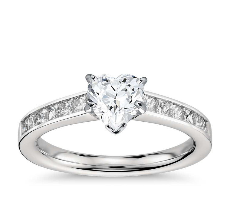 Engagement Ring - Channel Set Heart Cut