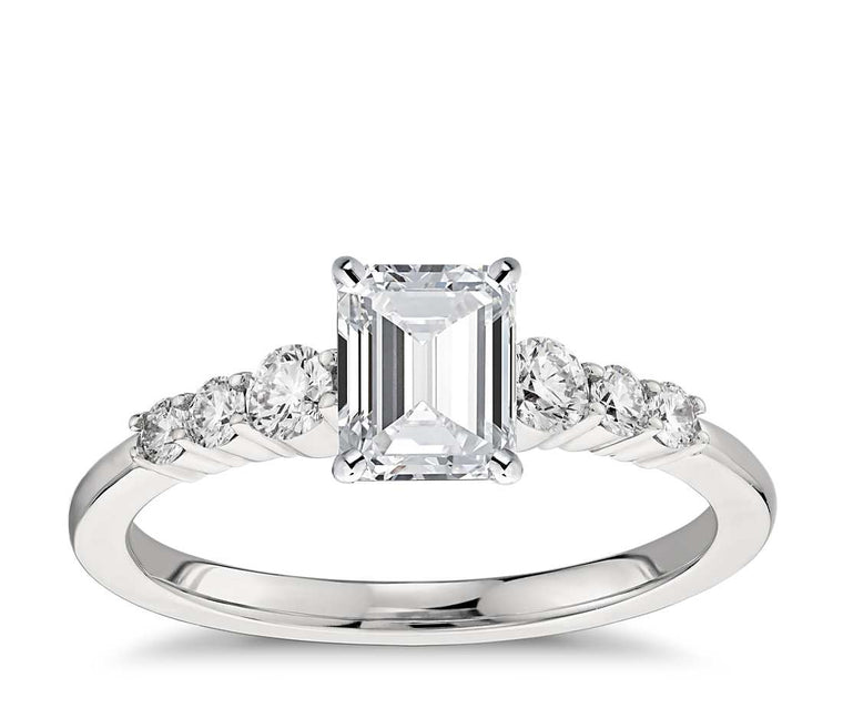 Engagement Ring - Side Stone Emerald Cut