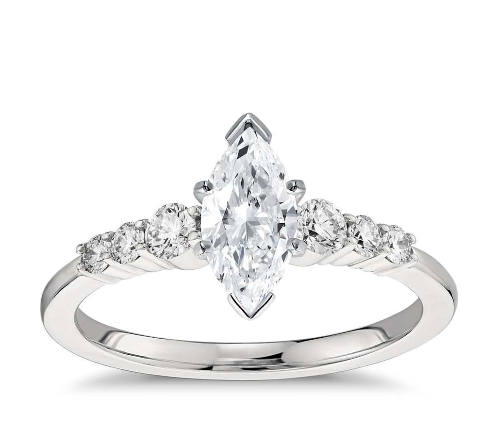 Engagement Ring - Side Stone Marquise Cut