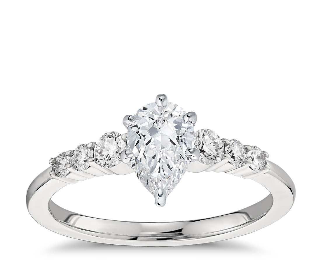 Engagement Ring - Side Stone Pear Cut