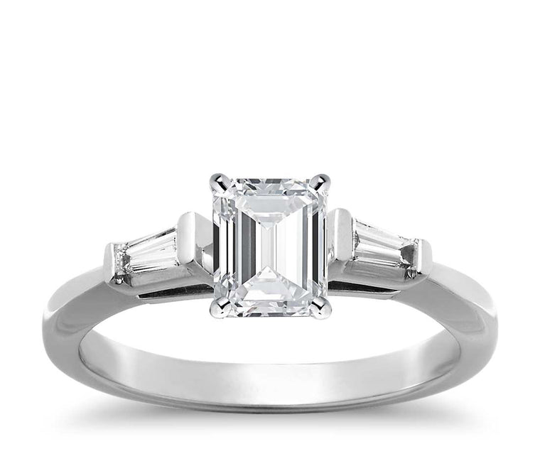 Engagement Ring - Three Stone Emerald Cut