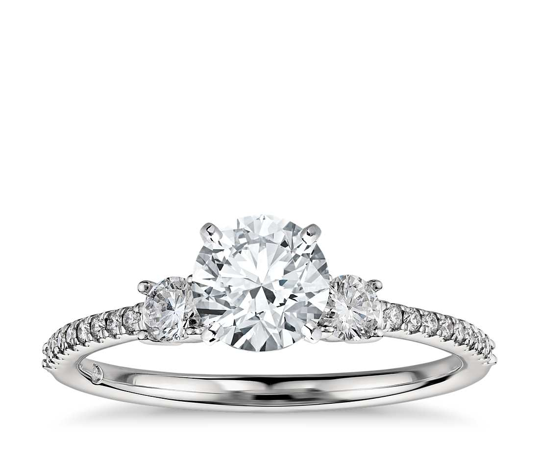 Engagement Ring - Pave Three Stone Round Cut