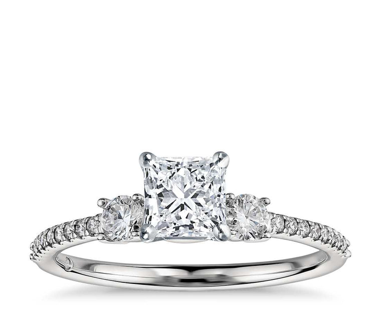 Engagement Ring - Pave Three Stone Princess Cut