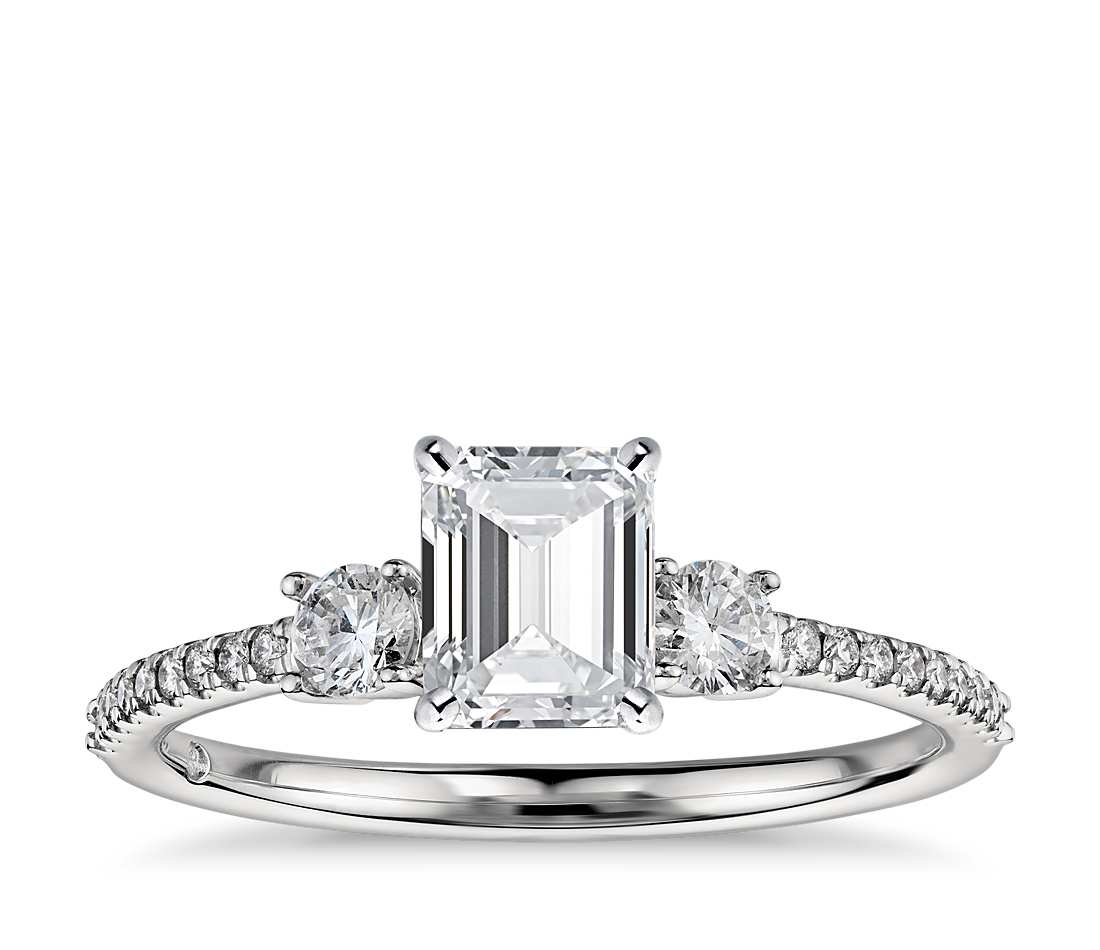 Engagement Ring - Pave Three Stone Emerald Cut