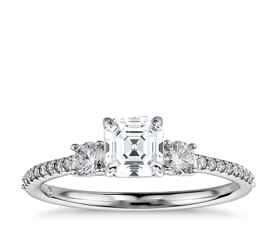 Engagement Ring - Pave Three Stone Asscher Cut