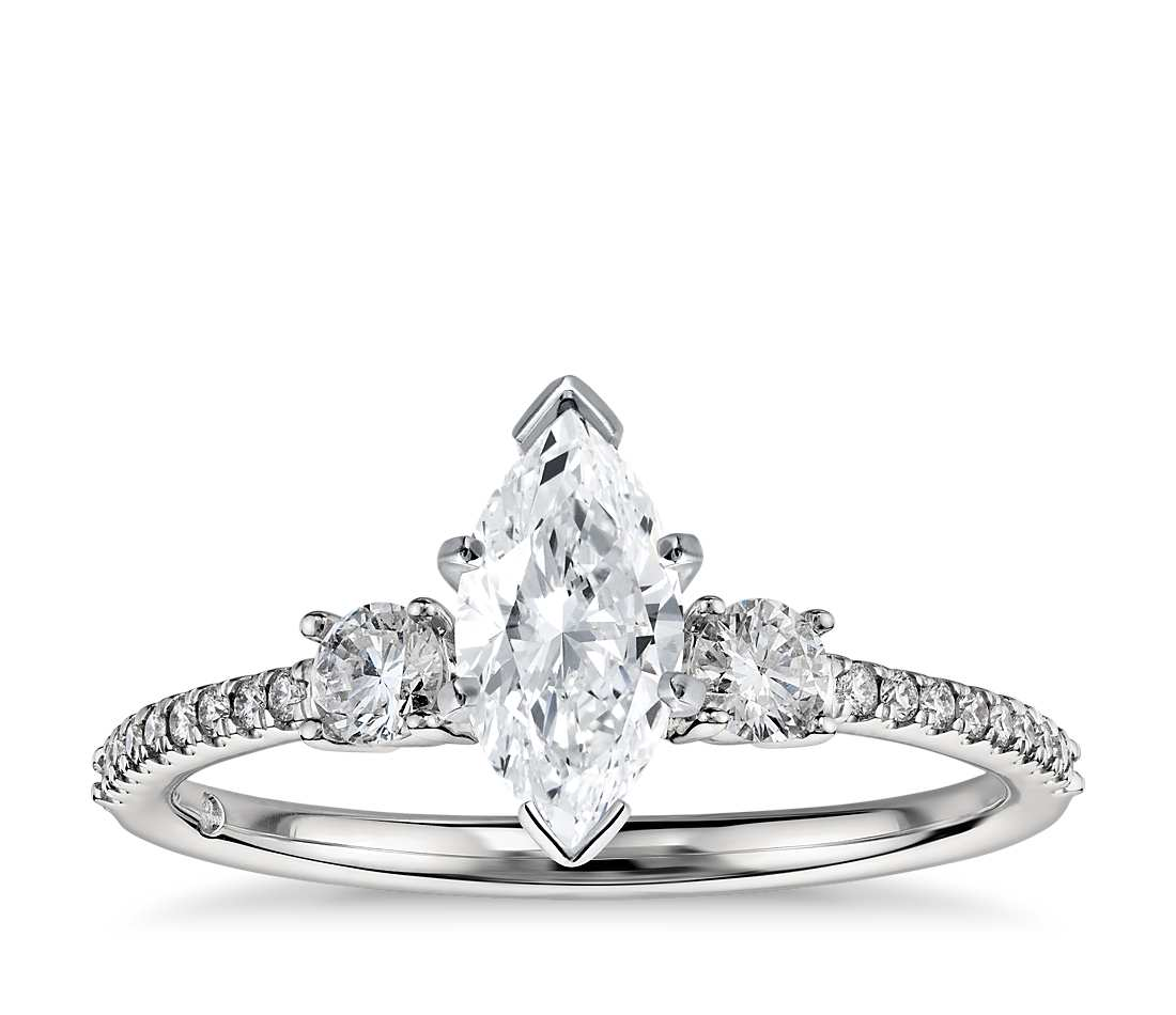 Engagement Ring - Pave Three Stone Marquise Cut