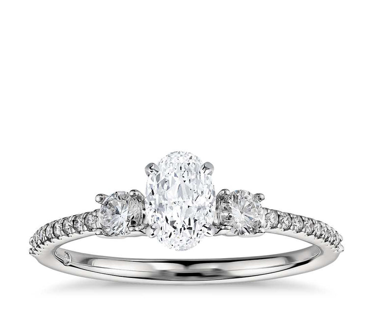 Engagement Ring - Pave Three Stone Oval Cut