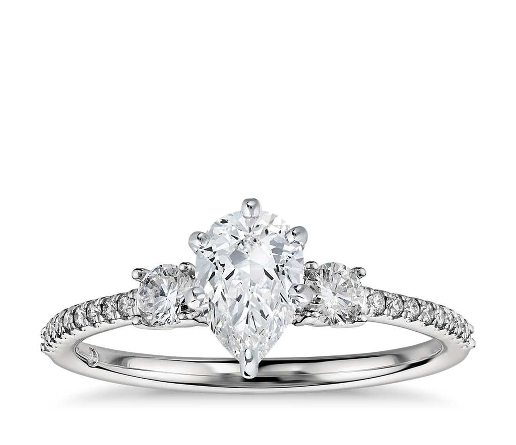 Engagement Ring - Pave Three Stone Pear Cut