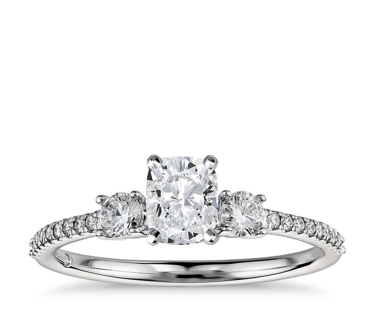 Engagement Ring - Pave Three Stone Cushion Cut