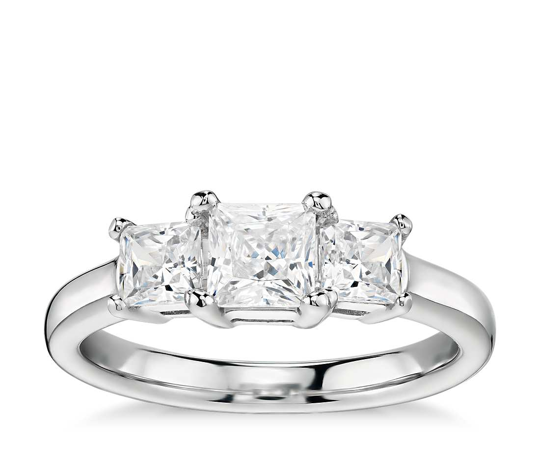 Engagement Ring - Three Stone Classic Princess Cut