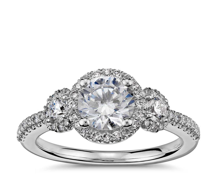 Engagement Ring - Three Stone Halo Round Cut