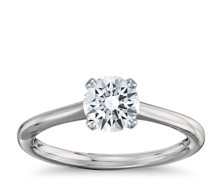 Engagement Ring - Thin Four-Prong Round