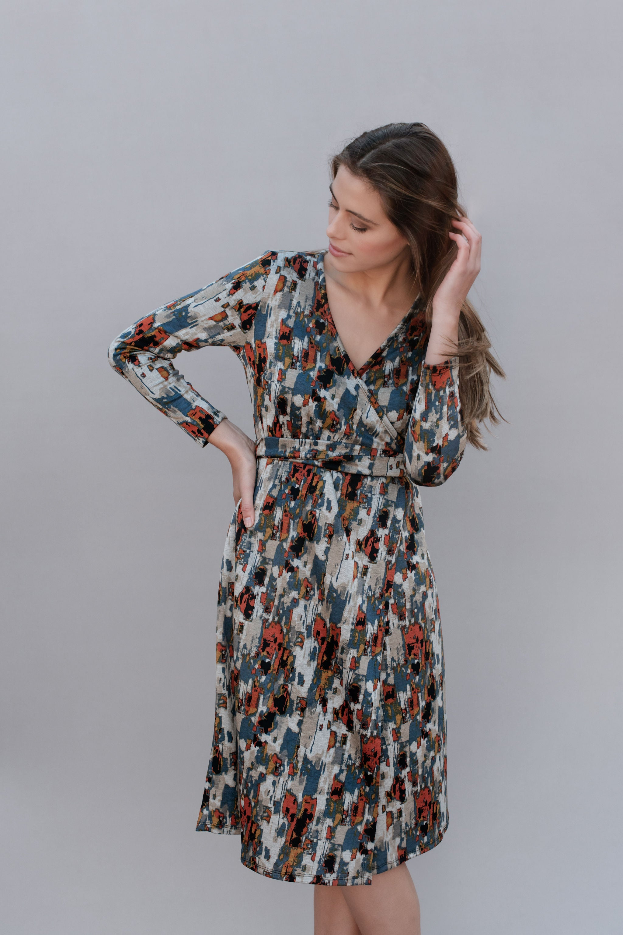 abstract printed wrap dress