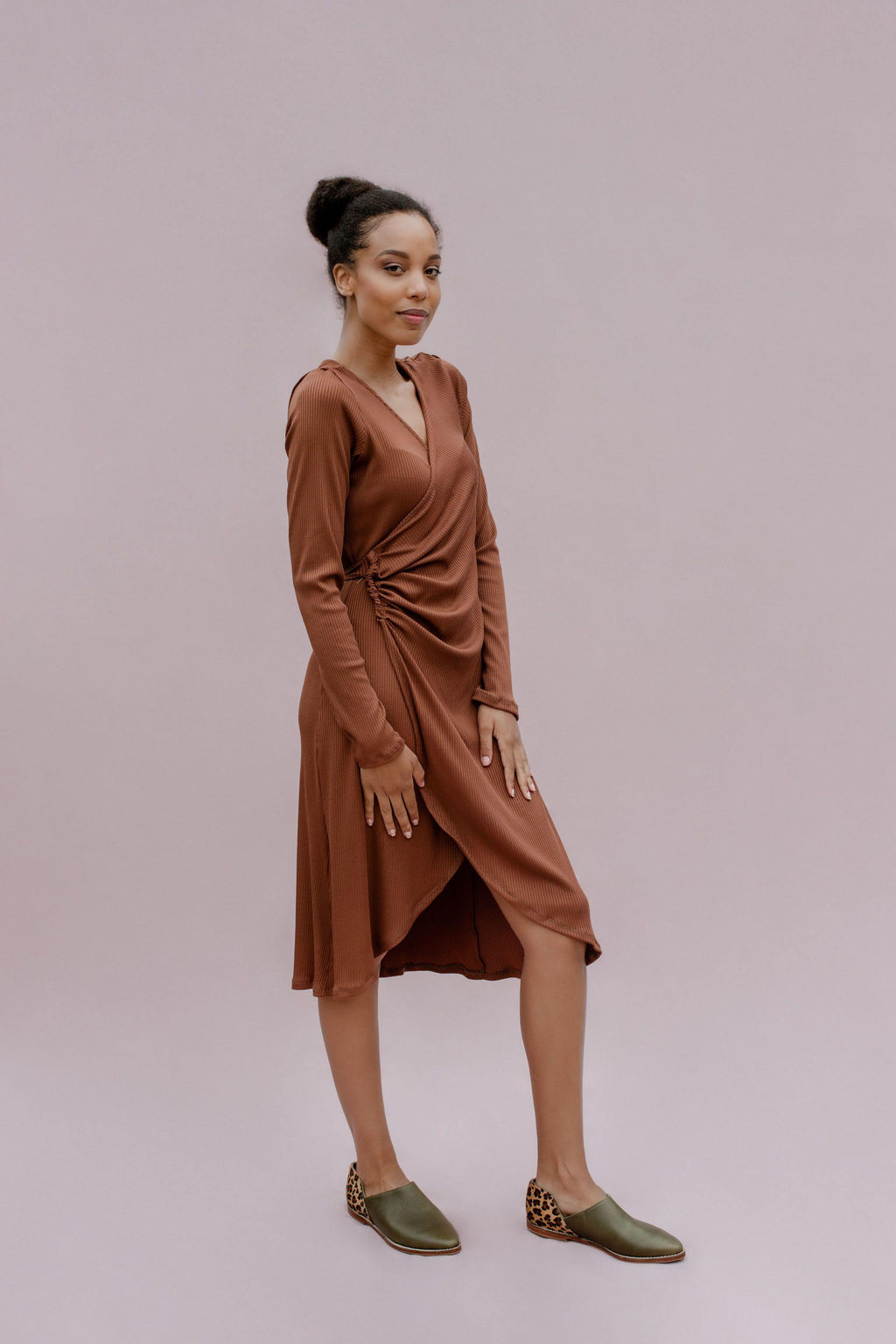 Rib Rouged Wrap Dress