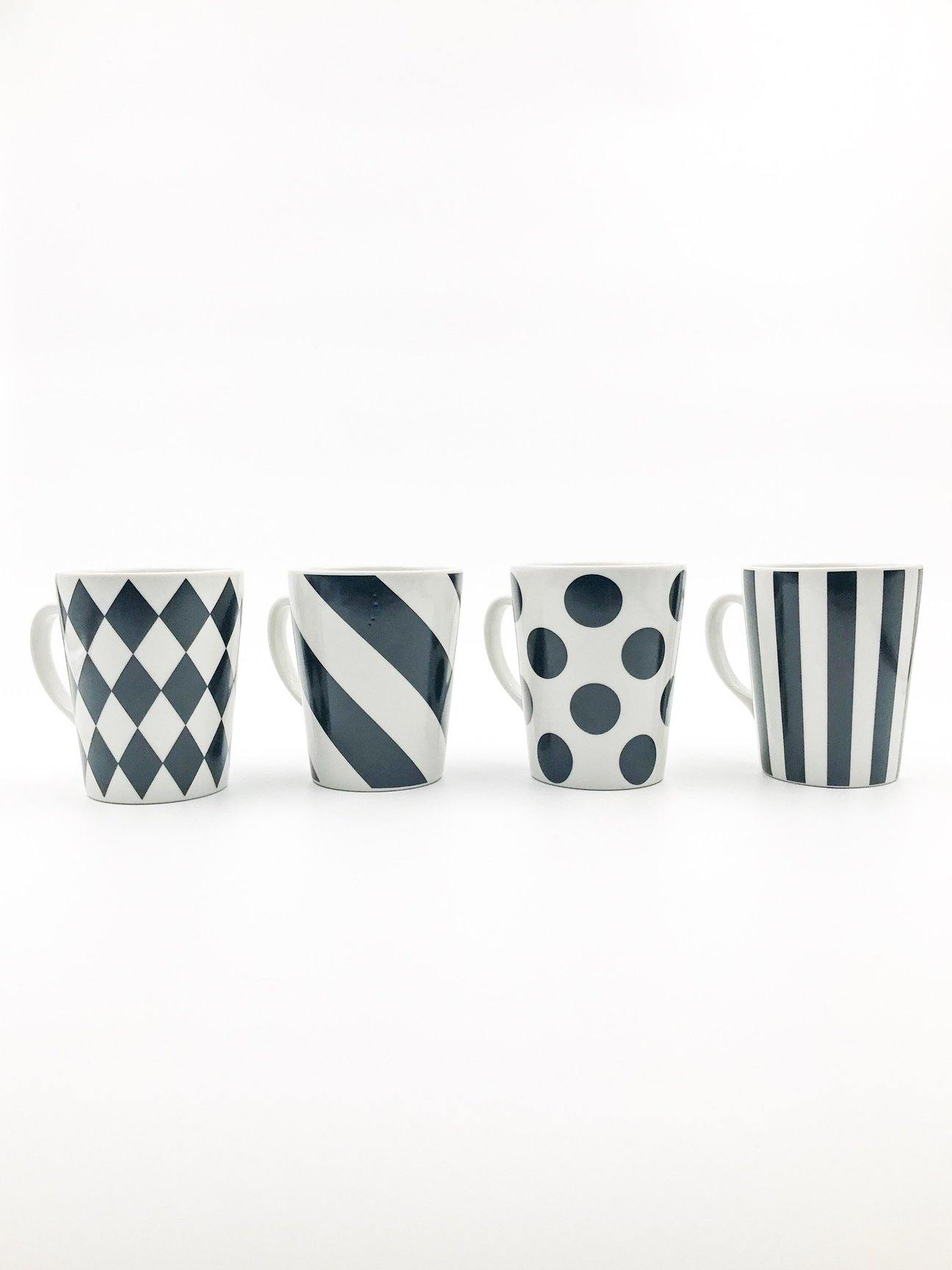 Black And White Mug Set Of 4