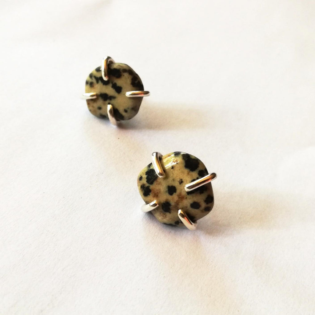Stone Stud Earrings - Brass