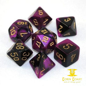 Chessex Gemini Black-Purple/Gold 7-Die Set - Corn Coast Comics