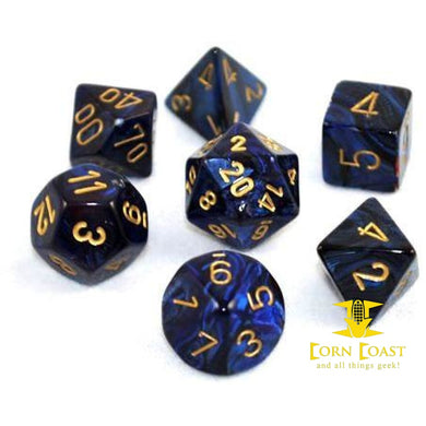 Chessex Scarab Royal Blue/Gold 7-Die Set - Corn Coast Comics