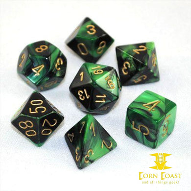 Chessex Gemini Black-Green/Gold 7-Die Set - Corn Coast Comics