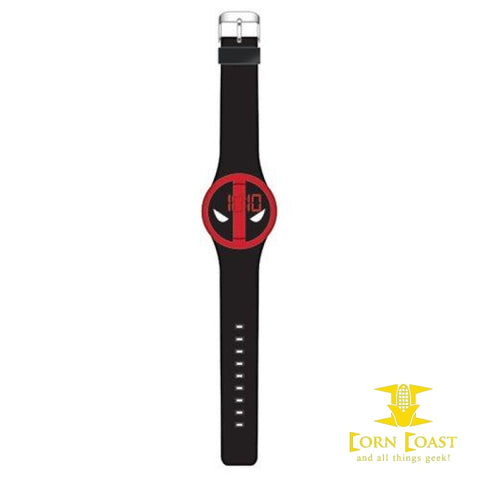 Deadpool Logo Black Strap LED Watch - Corn Coast Comics