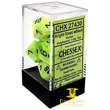 Chessex Vortex Bright Green/Black 7-Die Set - Corn Coast Comics