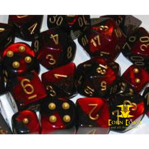Chessex Gemini Black-Red/Gold 7-Die Set - Corn Coast Comics