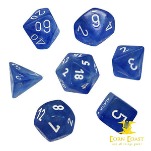 Chessex Borealis Sky Blue/White 7-Die Set - Corn Coast Comics