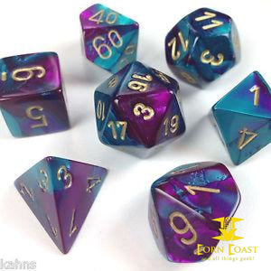 Chessex Gemini Purple-Teal/Gold 7-Die Set - Corn Coast Comics
