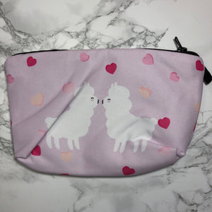 Pink - Kissing Llamas - Llama Makeup Bag