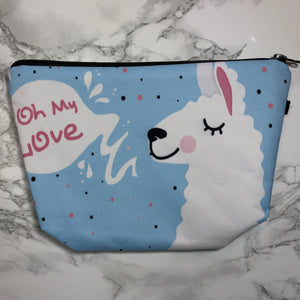 Blue - Oh My Love - Llama Makeup Bag