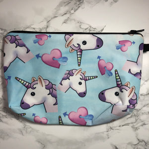 Blue - Unicorns and Hearts - Unicorn Makeup Bag