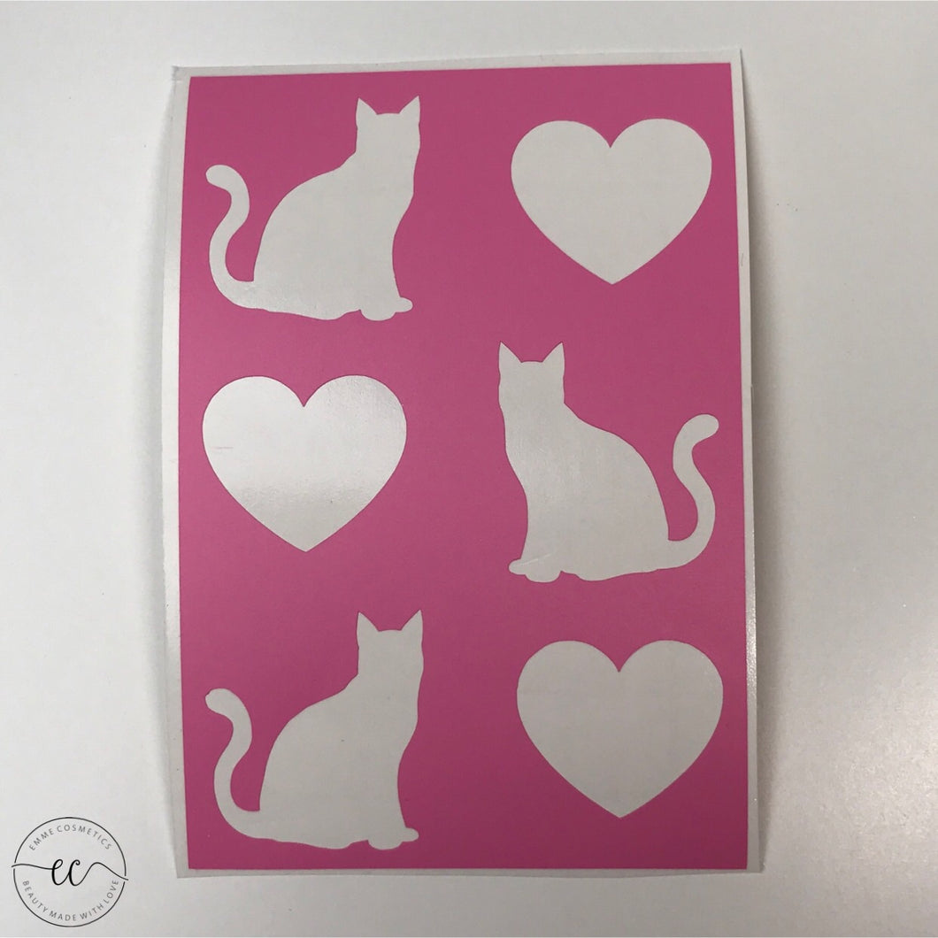 Cats and Hearts - 06 Swatches - Makeup Stencil