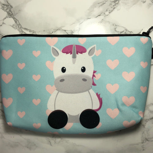 Blue - Unicorn and Hearts - Unicorn Makeup Bag