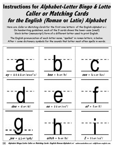 Alphabet Bingo - Lotto with Lower-Case Letters a - i