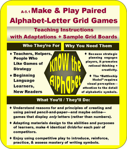 Make and Play Paired Alphabet Letter Grid Games American English