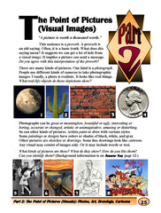 "Begin to Read ""Wisdom of Visual Literacy"": get a lot of info from a visual image. a picture can send a message"