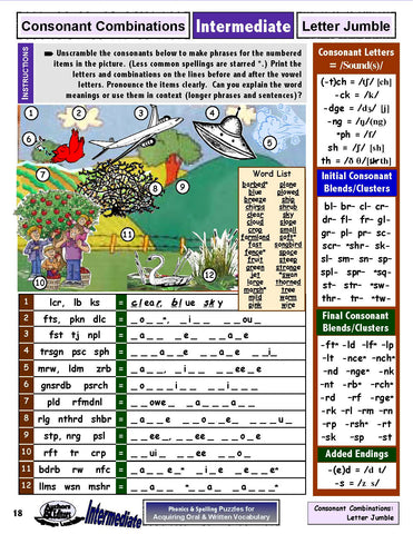 Phonics & Spellings Puzzles, Intermediate