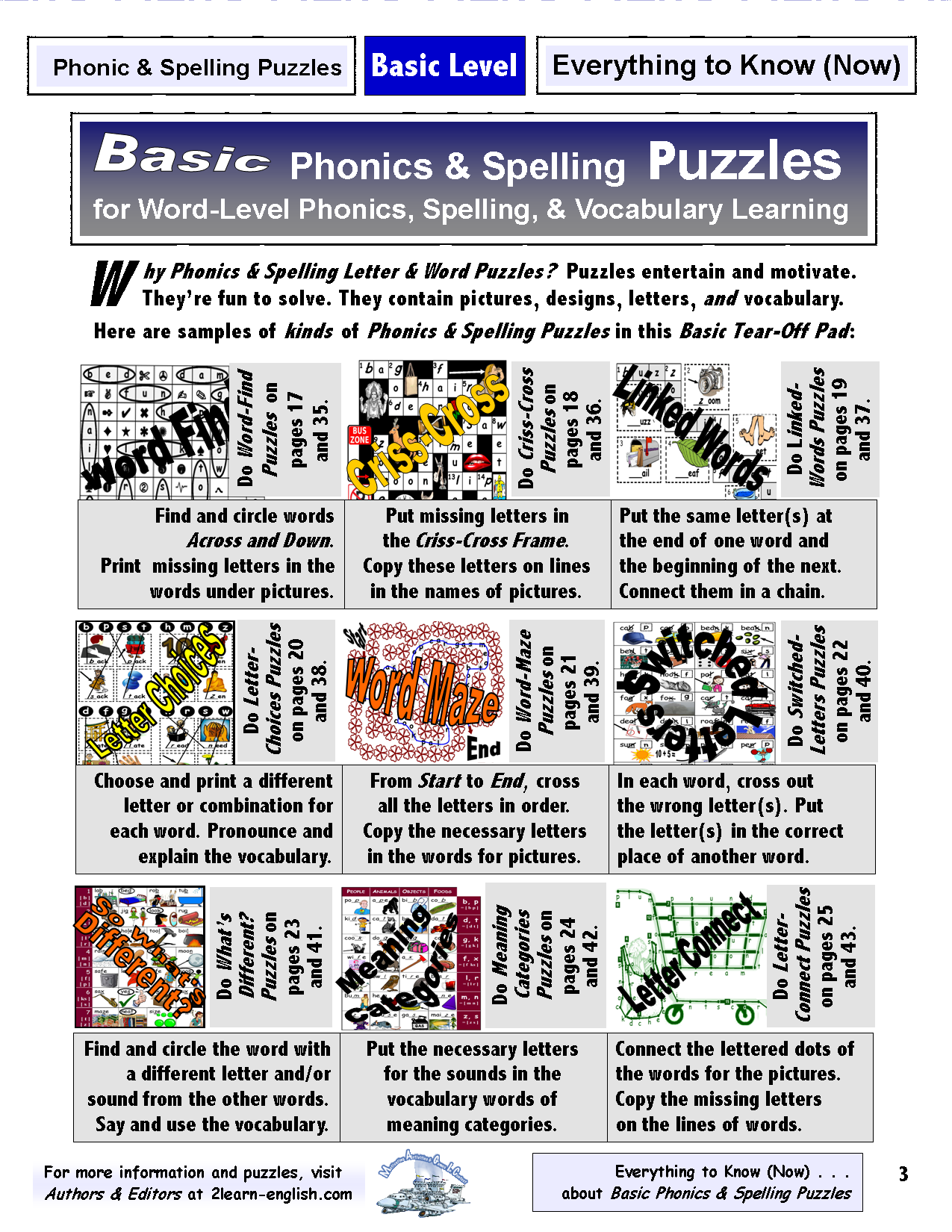 Spelling & Phonics Puzzles Level 1 = Basic Literacy &amp